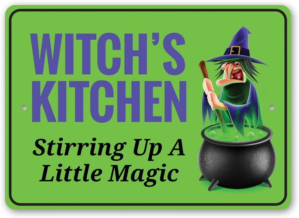 """Witch's Kitchen Stirring Up a Little Magic, Witch Cauldron, Magic Potion, Witch's Concoction Halloween Aluminum Sign - 10"""" x 14"""""""