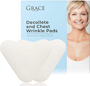 Grace Chest Wrinkle Pads 2-Pack | Silicone Chest and Decollete Wrinkle Remover | Hydrating and Anti Aging 100% Silicone Pad for Sun Damage, Deep Wrinkles and Skin Blemishes