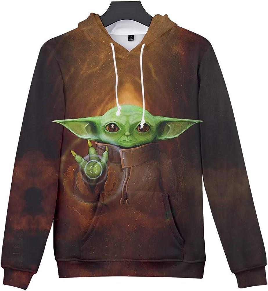 WANQIU Mandalorian Baby Yoda 3D imprim/é /à Manches Longues /à Capuche Pull Hommes et Femmes Sweat avec Poche