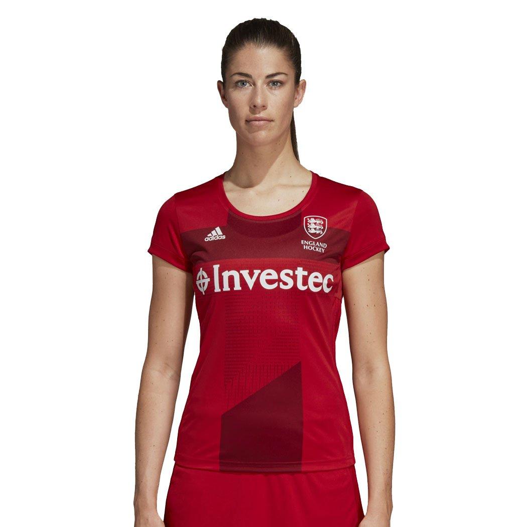 adidas EH England Hockey World Cup 2018 Women's Home Jersey Tee Shirt Red)