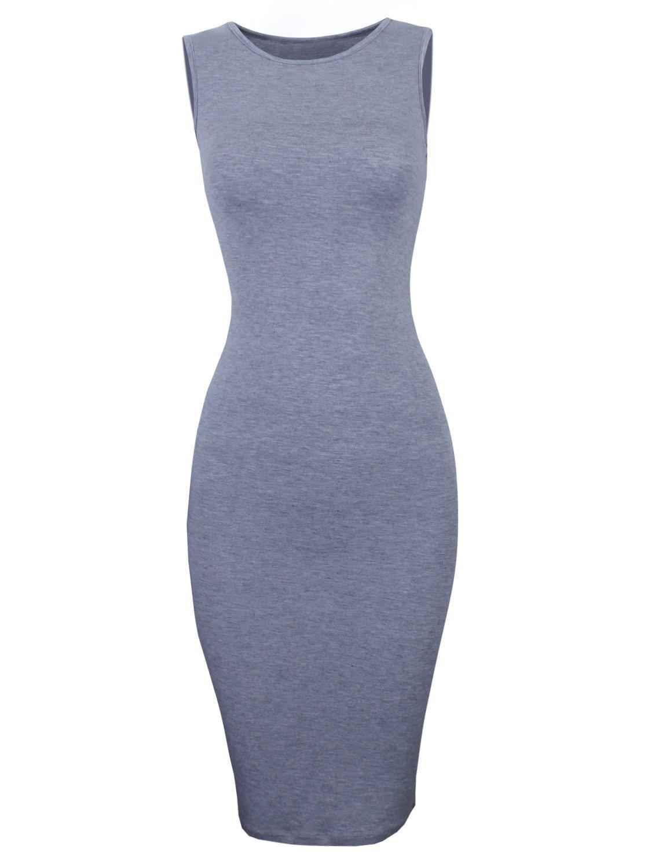 TAM WARE Women's Classic Slim Fit Sleeveless Midi Dress TWCWD051-GRAY-US XS/S(Tag Size S)