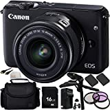 Canon EOS M10 Mirrorless Digital Camera with EF-M 15-45mm f/3.5-6.3 IS STM Lens (Black) 16GB Bundle 13PC Accessory Kit. Includes Manufacturer Accessories + 16GB Memory Card + 2 Replacement LP-E12 Batteries + Pistol Grip/Table Top Tripod + MORE - International Version (No Warranty)
