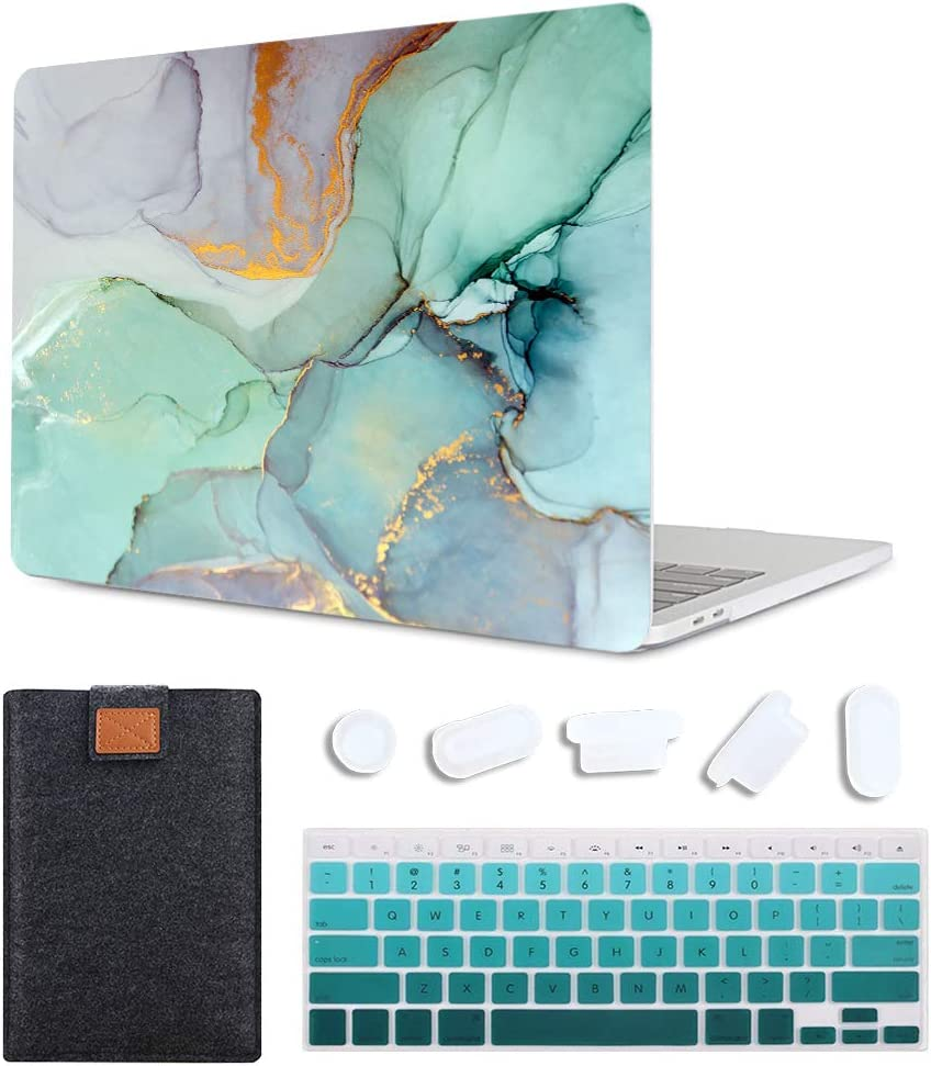 MAITTAO MacBook Air 13 Inch Case 2020 2019 2018 Release A1932/A2179,Plastic Pattern Hard Shell & Laptop Sleeve & Keyboard Cover for Mac Air 13 Case Retina Display fits Touch ID, Creative Marble 1