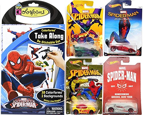 Spider-Man Homecoming Hot Wheels Exclusive car 4-Pack & Ultimate Colorforms Stickable set Super Hero Toy Character (Green Goblin Costume 2016)