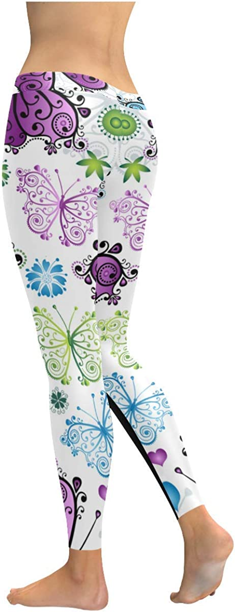 InterestPrint Leggings for Women Spring Summer Flowers Yoga Pants for Girls Workout Sport Gym