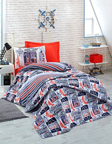 Regatta Single - Regatta, 100% Cotton Single-Full/Twin Size Multifunctional Four Season Nautical Bedding Complete Set, Sailboat, Anchor, Compass, France Flag Themed, Quilted Bedspread/Duvet Cover Set, Pink, 3 PCS