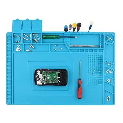 Spurtar - Alfombrilla de silicona magnética antiestática para soldar, ordenador, teléfono y reloj (
