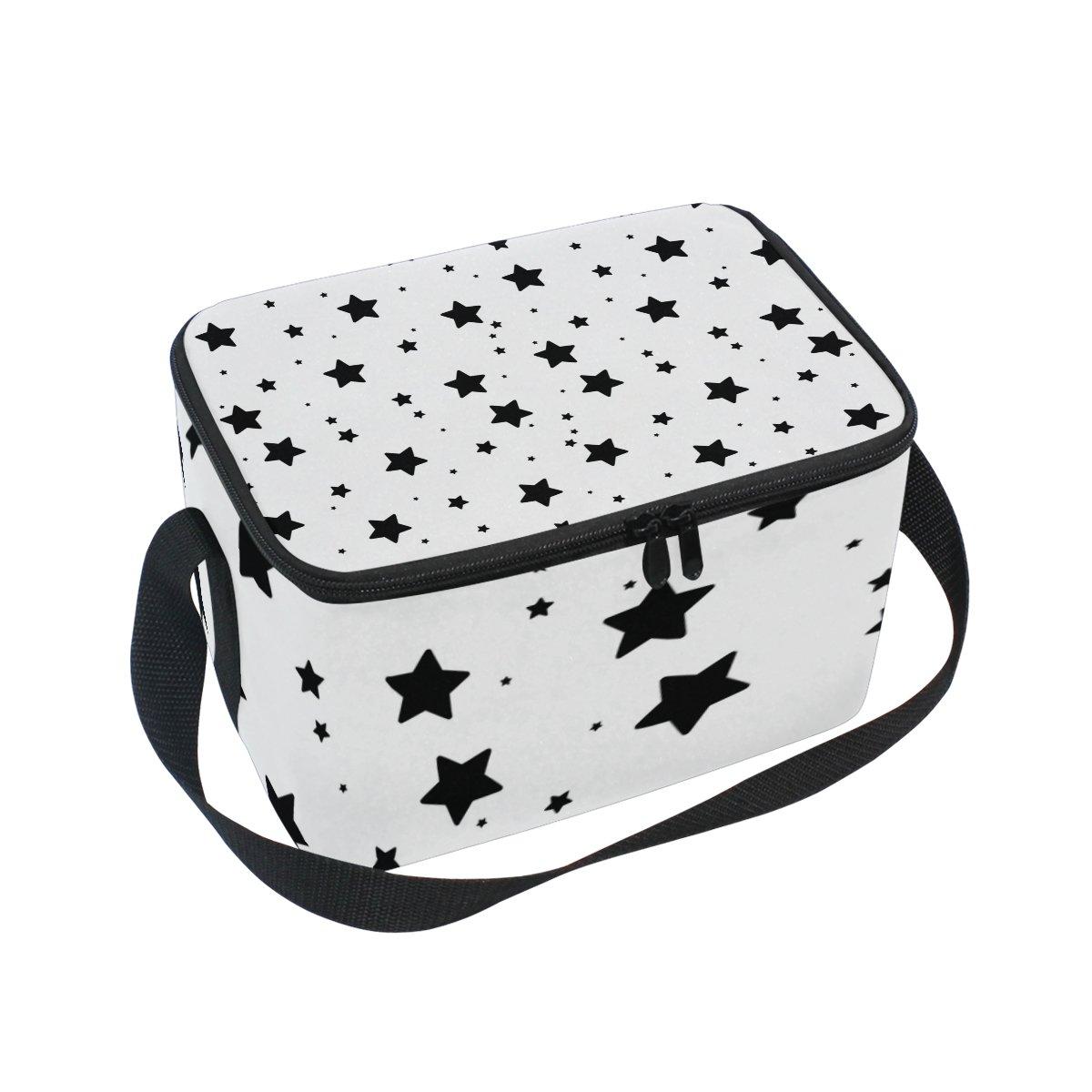 ALIREA Twinkle Stars Pattern Insulated Lunch Box Bag Cooler Reusable Tote Bag with Adjustable Shoulder Strap for Women Men