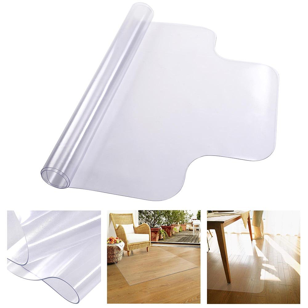 YesHom 48'' x 36'' Clear PVC Floor Mat Protector w/Lip 1.5mm Thickness for Hard Wood Floors Home Office Desk Chairs