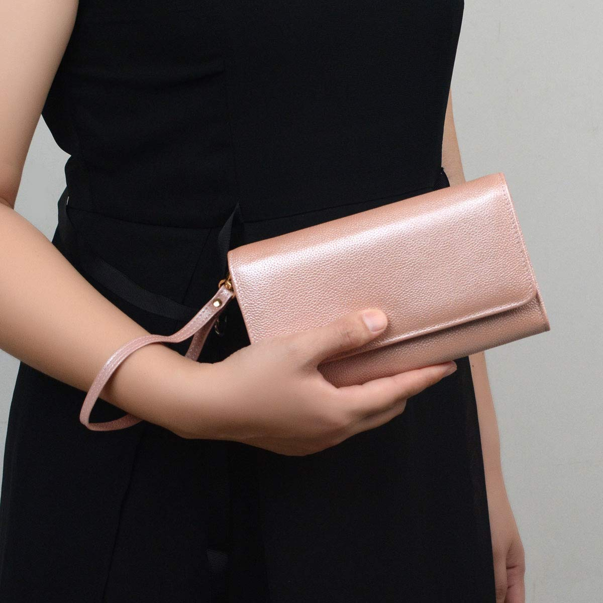 Women RFID Leather Trifold Wallet Cossbody Purse Clutch with Chain Strap (Rose Gold) by Bveyzi (Image #3)