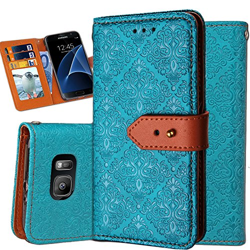 Galaxy S7 Edge Wallet Case,Auker Ultra Slim Vintage Leather Folio Flip Book Style Fold Stand Case Fashion Purse Carrying Phone Cover with Card Holders&Hidden Pocket for Samsung Galaxy S7 Edge (Blue)