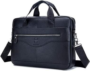Men Genuine Leather Briefcase Bag Cross Body Handbag with Zipper for Business Travel 15.35x11.42x3.54 Inch (Black)
