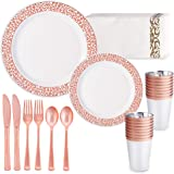 HAPYCITY 24 Guests Rose Gold Plastic Plates with Disposable Dinnerware 168 Pcs Perfect for Party Valentine's Day Dinner