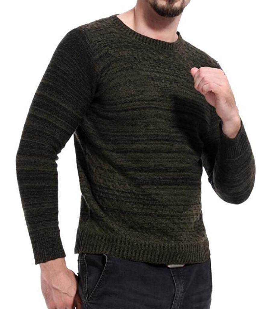 Fensajomon Mens Knitted Casual Regular Fit Long Sleeve Crew Neck Pullover Sweater
