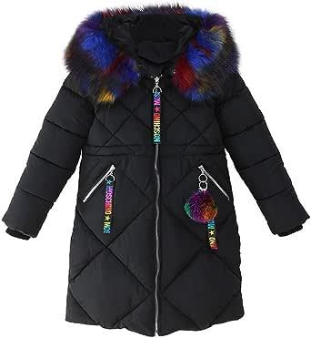 Phorecys Chaqueta de invierno con capucha de piel sintética para niña de 2 a 11 años