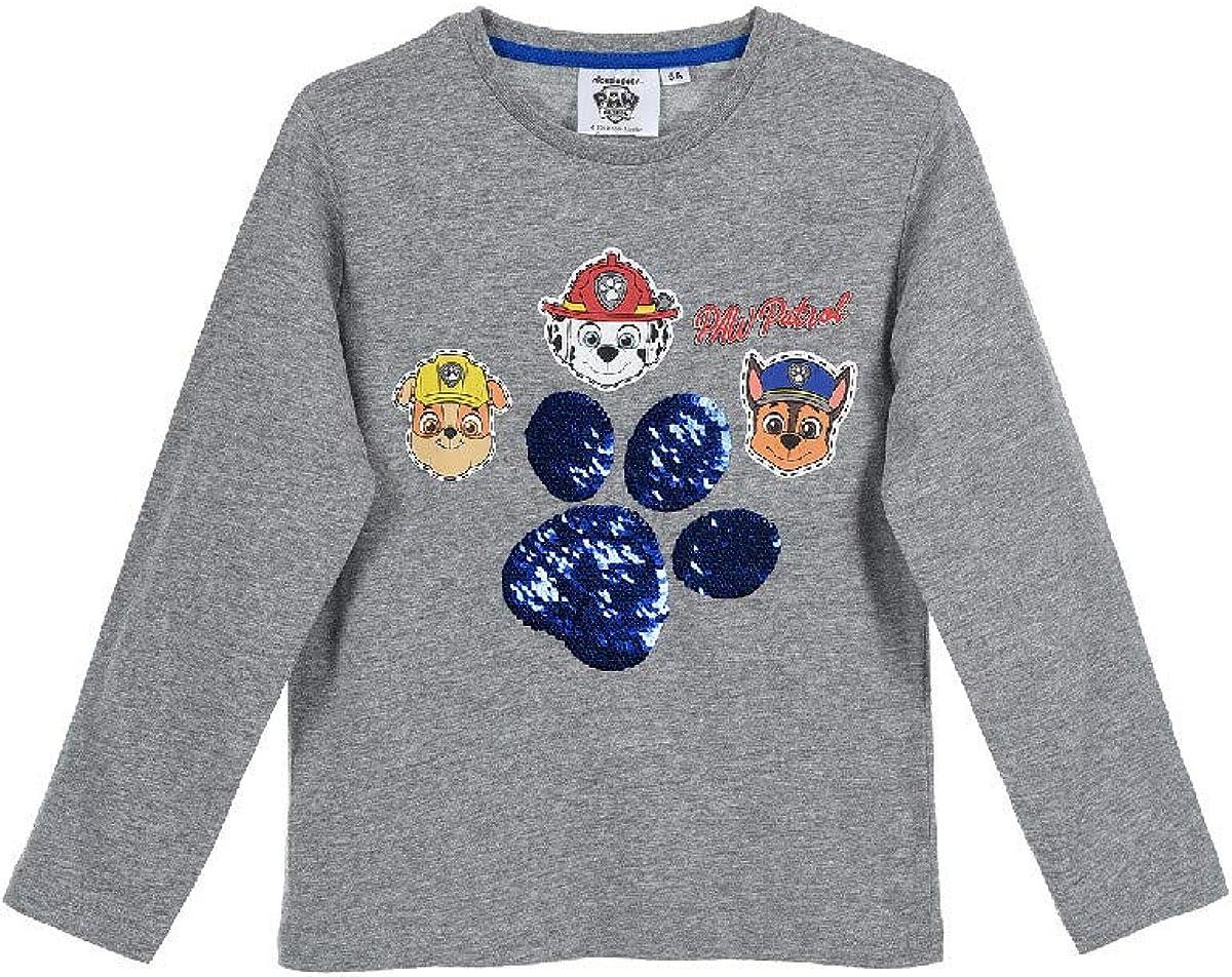 Paw-Patrol - Camiseta de manga larga con lentejuelas reversibles gris 98 cm: Amazon.es: Ropa y accesorios