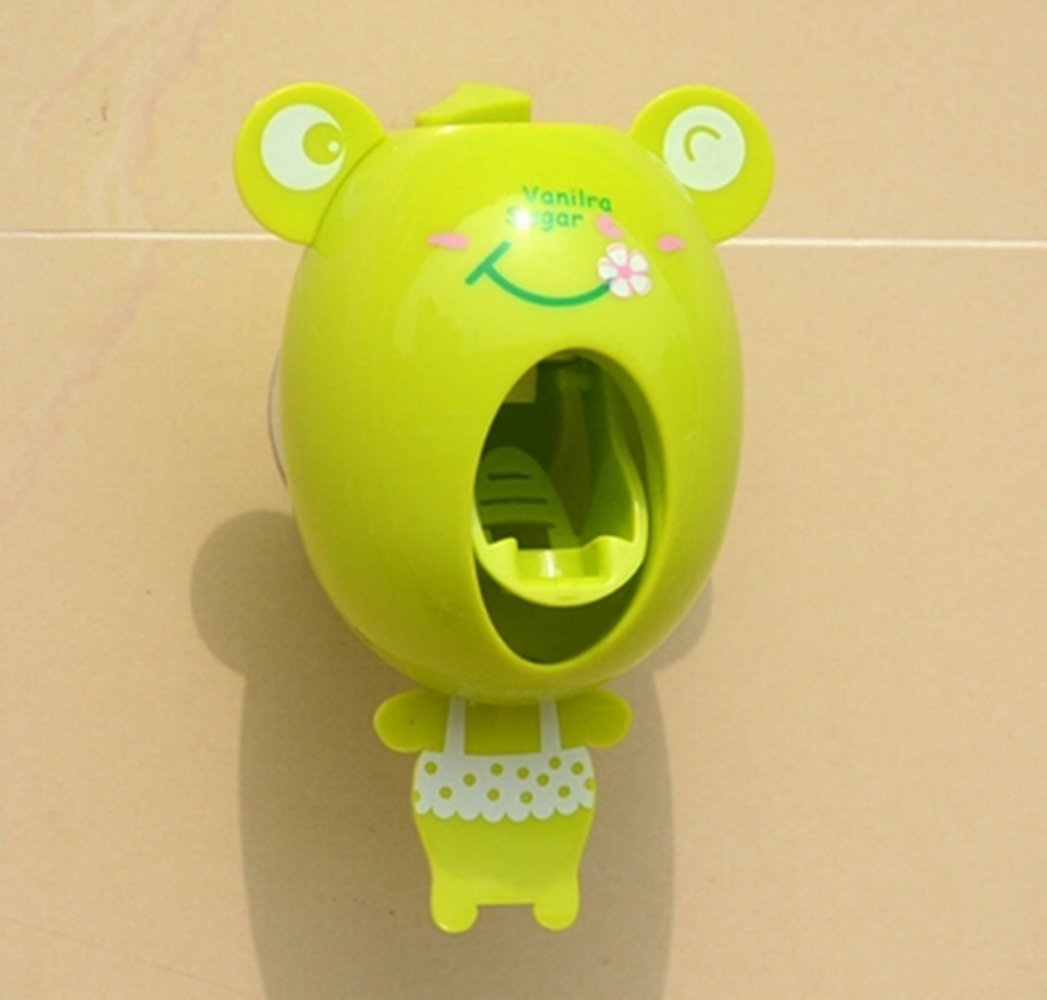 Just_for you - Household Creative Cartoon Automatic Toothpaste Dispenser Wall Mount Stand Bathroom Sets animals Design for Kids. (Green Frog)