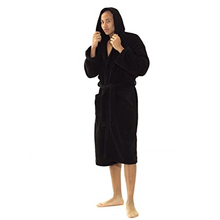 100% Egyptian Cotton Hooded Unisex Dressing Gown Thick Towelling ... a33be05f5