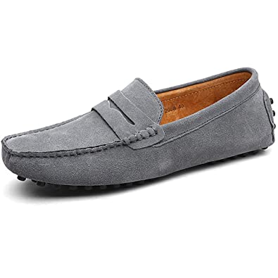 f829dc8f544 Jamron Men s Classic Original Suede Leather Penny Loafers Comfort Driving  Shoes Slip-on Flats Moccasin