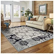 Superior Modern Mystique Collection Area Rug, 8mm Pile Height with Jute Backing, Elegant Mulit-colored Damask Pattern, Anti-Static, Water-Repellent Rugs - Black & Grey, 8' x 10' Rug