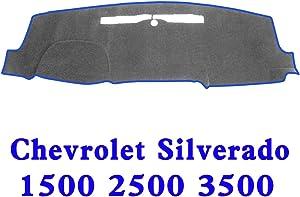 JIAKANUO Auto Car Dashboard Carpet Dash Board Cover Mat Fit Chevrolet Silverado 1500 2500 3500 2014-2017 (Gry-BLU MR-032)