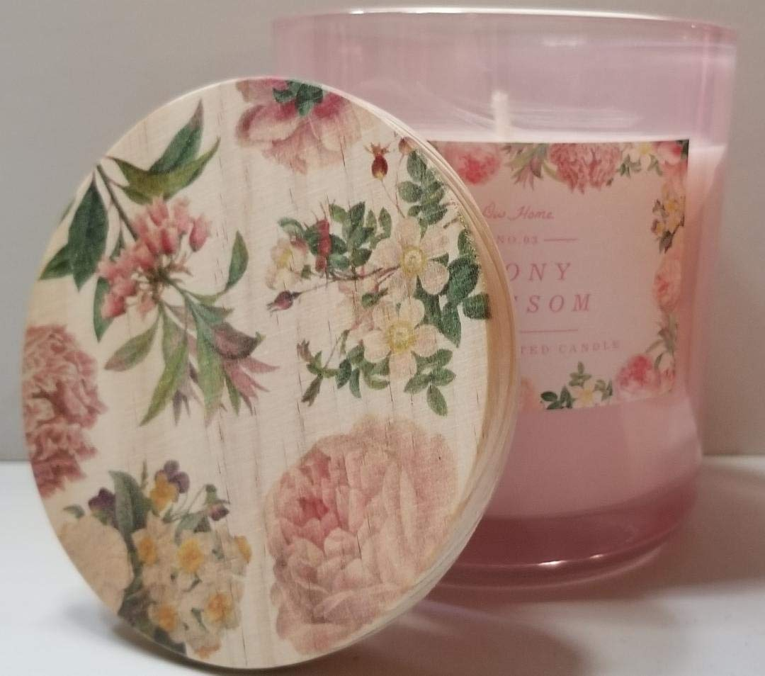DW Home Peony Blossom Medium 1 Wick Candle with Beautiful Floral Lid