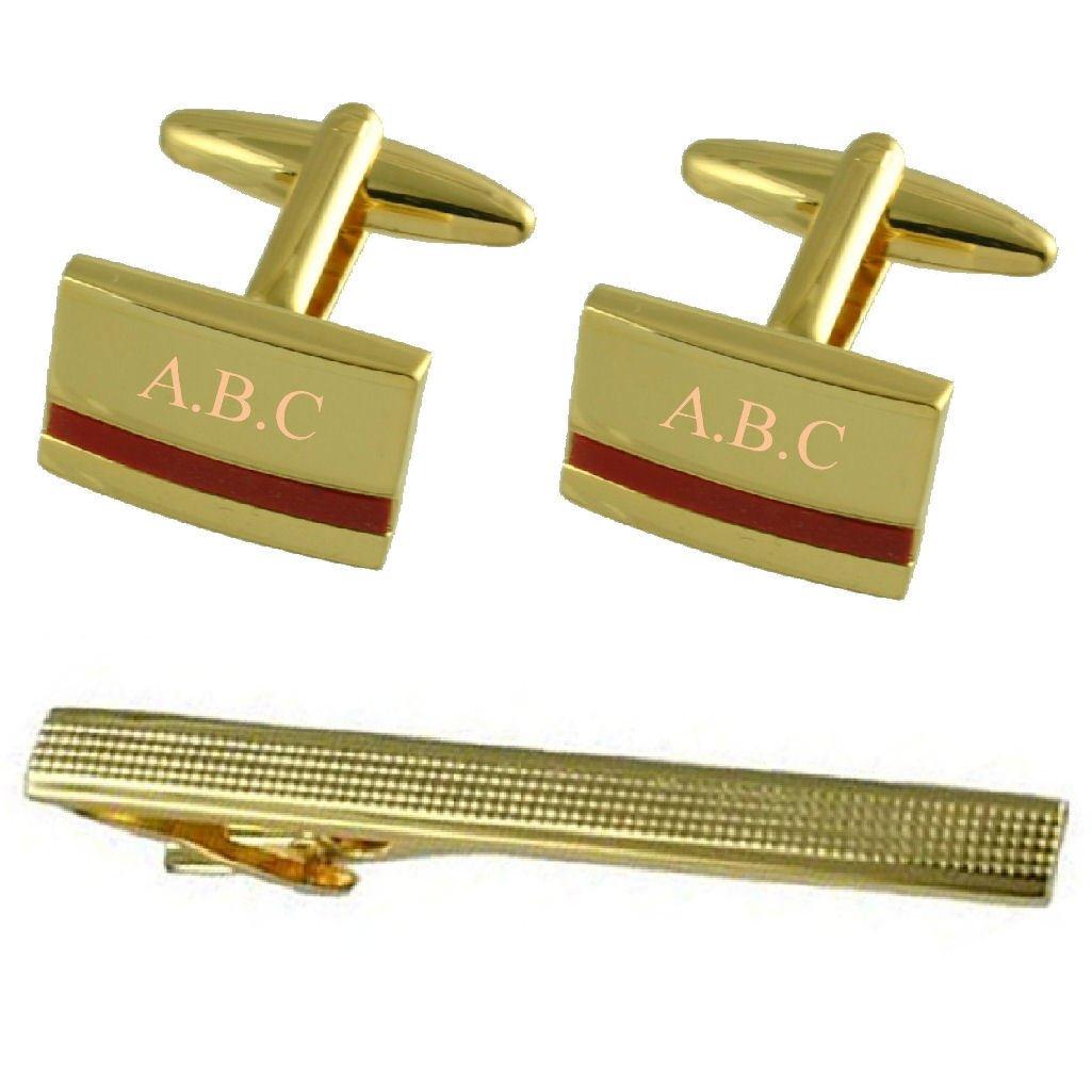 Red Jasper Gold Cufflinks Engraved Gift Set with Tie Clip 65mm