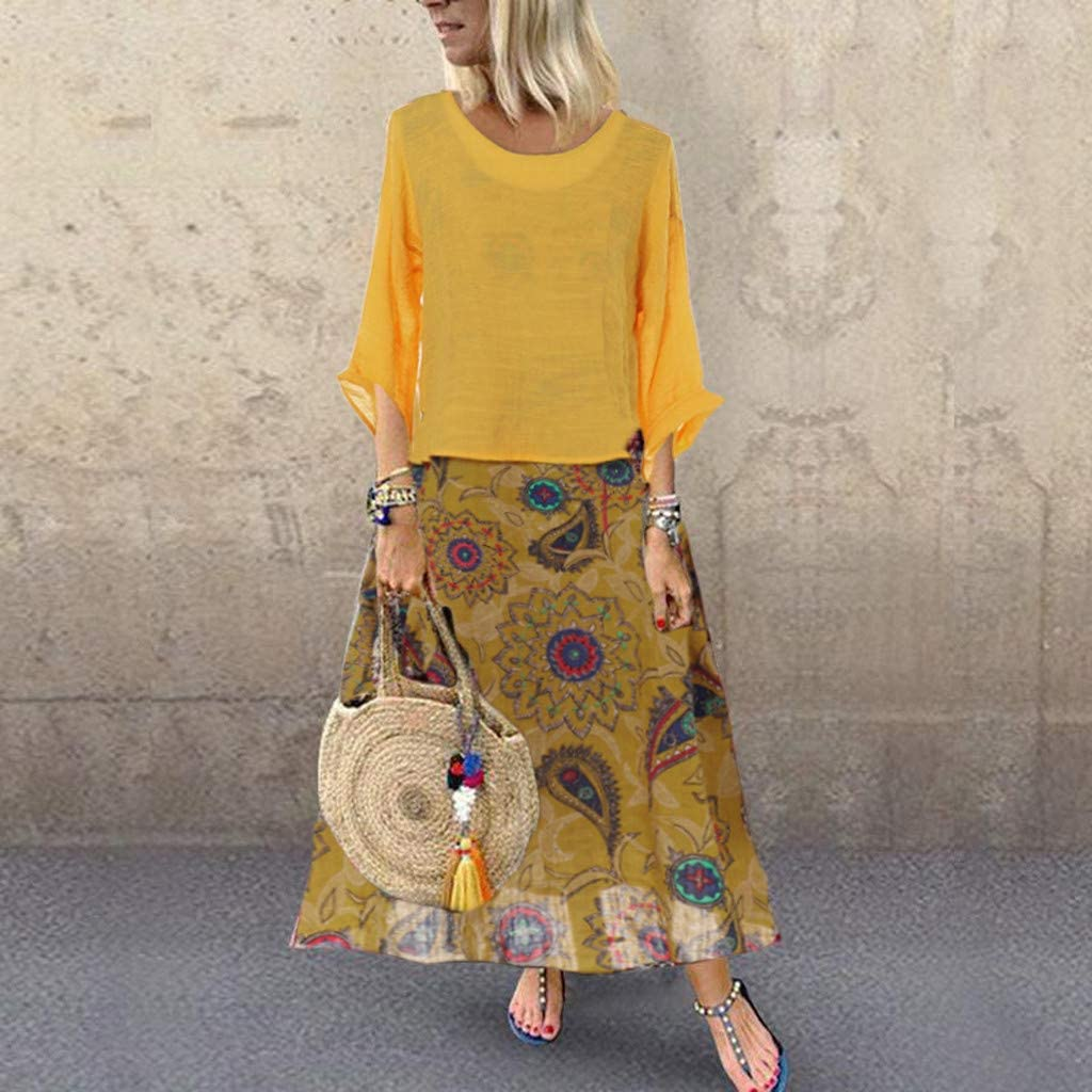 Summer Dresses for Women,Women Leisure O-Neck Loose 3//4 Sleeve Vintage Casual Floral Print Long Dress