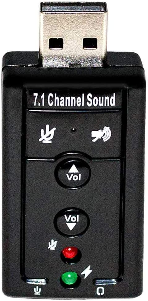 OcioDual Tarjeta de Sonido Externa USB 2 Conectores Mini Jack 3.5mm con Panel Volumen Ajustable Silencio Altavoz Micr/ófono Negra