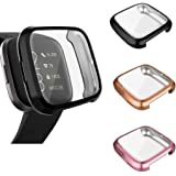 3 Pack Compatible Fitbit Versa 2 CASE Screen Protector, Ultra-Thin Slim Soft TPU Protective Case All-Around Full Cover Screen