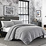 Eddie Bauer 223752 Preston Duvet Cover Set, Twin, Dark Grey