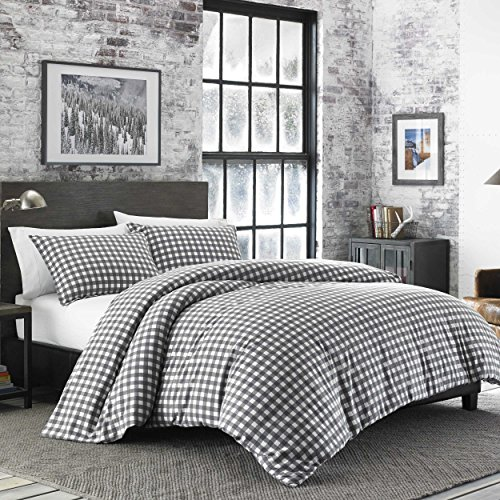 Eddie Bauer 223754 Preston Duvet Cover Set, King, Dark Grey (Blue Flannel Plaid Duvet Cover)