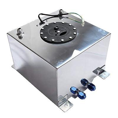 BETTERCLOUD 5 Gallon Racing Street Fuel Cell Gas Tank w/Level Sender Aluminum Polished Racing Street Drift Strip Silver: Automotive