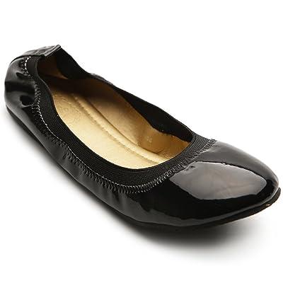 Ollio Women's Ballet Shoe Comfort Cute Enamel Flat | Flats