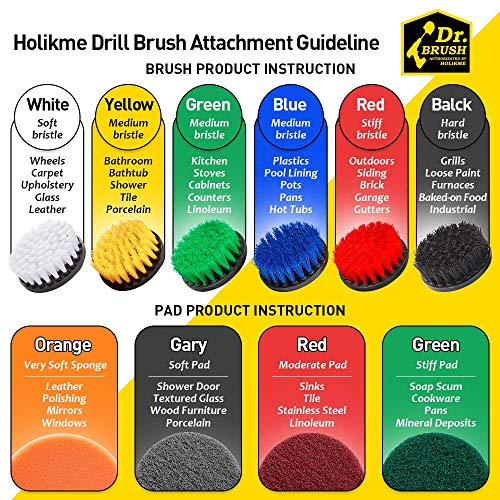 Holikme 30piece Drill Brush Attachments Set, Scrub Pads Sponge, Power Scrubber Brush with Rotate Extend Long Attachment All purpose Clean for Grout, Tiles, Sinks, Bathtub, Bathroom, Kitchen Automobile