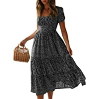 Women's Summer Boho Long Maxi Dress Ladies Holiday Beach Short Sleeve Floral Sundress