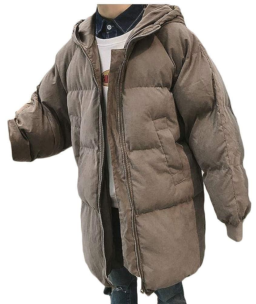 P/&E Mens Loose Down Hoodid Quilted Zipper Pocket Jacket Parka Coat
