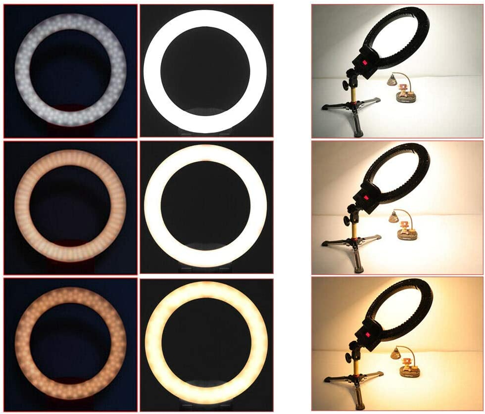 Compatible with Video Camera Black 12 Ring LED Light Lamp Dimmable Tabletop Tripod Kit