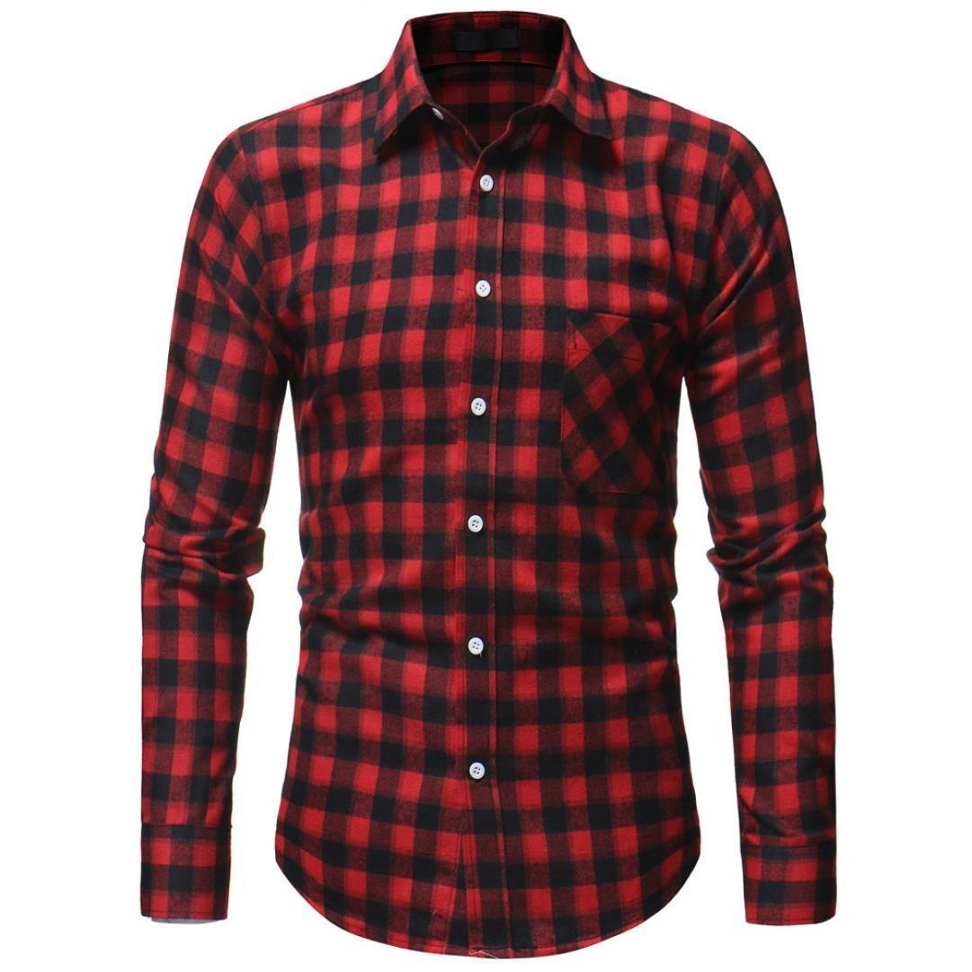 Gocheaper Men's Plaid Blouse Autumn Button Shirt Long Sleeved Pullover Fastener Sweatshirts Top (M, Red)