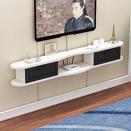 LJWLCH Mueble de TV Blanco pequeño Rack móvil TV de Pared Set-Top Box Mueble Colgante de Pared salón Box Rack DVD Rack multifunción con cajón: Amazon.es: Hogar