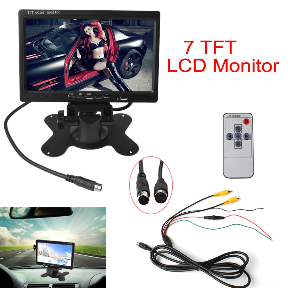 Epathchina 7 Tft Lcd Color 2 Video Input Car Rearview Monitor Wiring Diagram Headrest Dvd Vcr With Remote And Stand Support Rotating The Screen