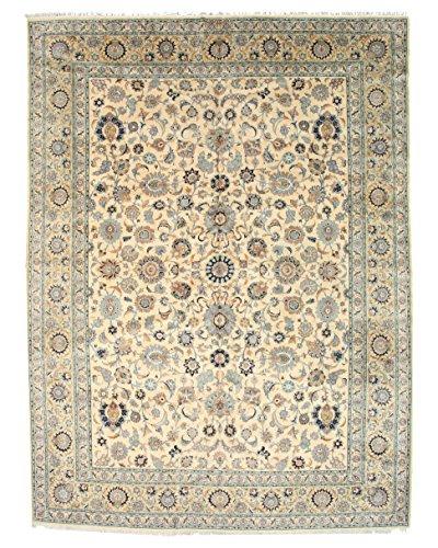 EORC 14538 Beige Hand Knotted Wool Persian Kashan Rug, 10'7 x 14'4 - Kashan Rug Classic Beige