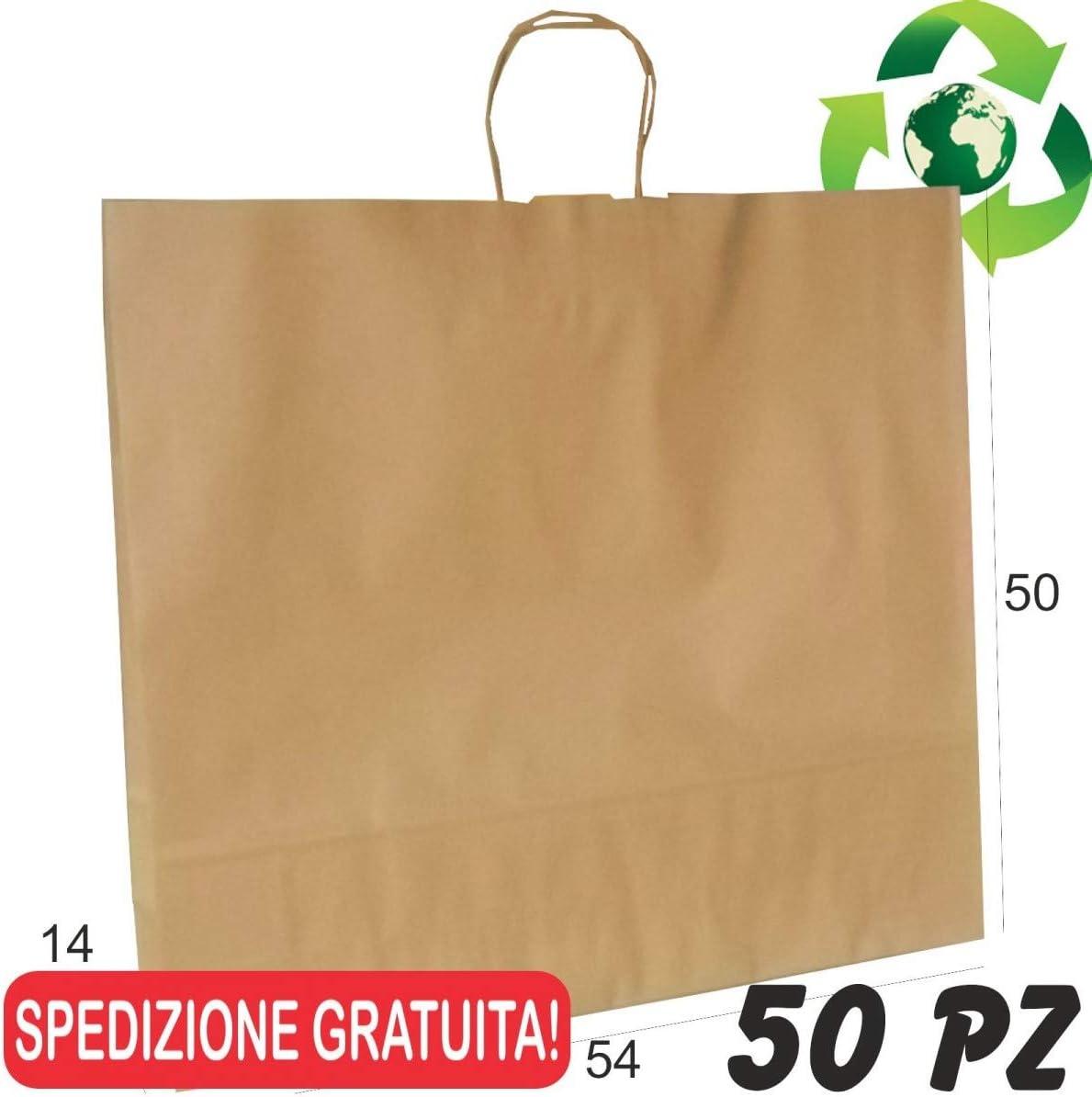 50 PZ Borse Shopper di Carta Manico Cordino Sacchetti Carta Riciclata Avana cm 15x8x20 OVERBAGS