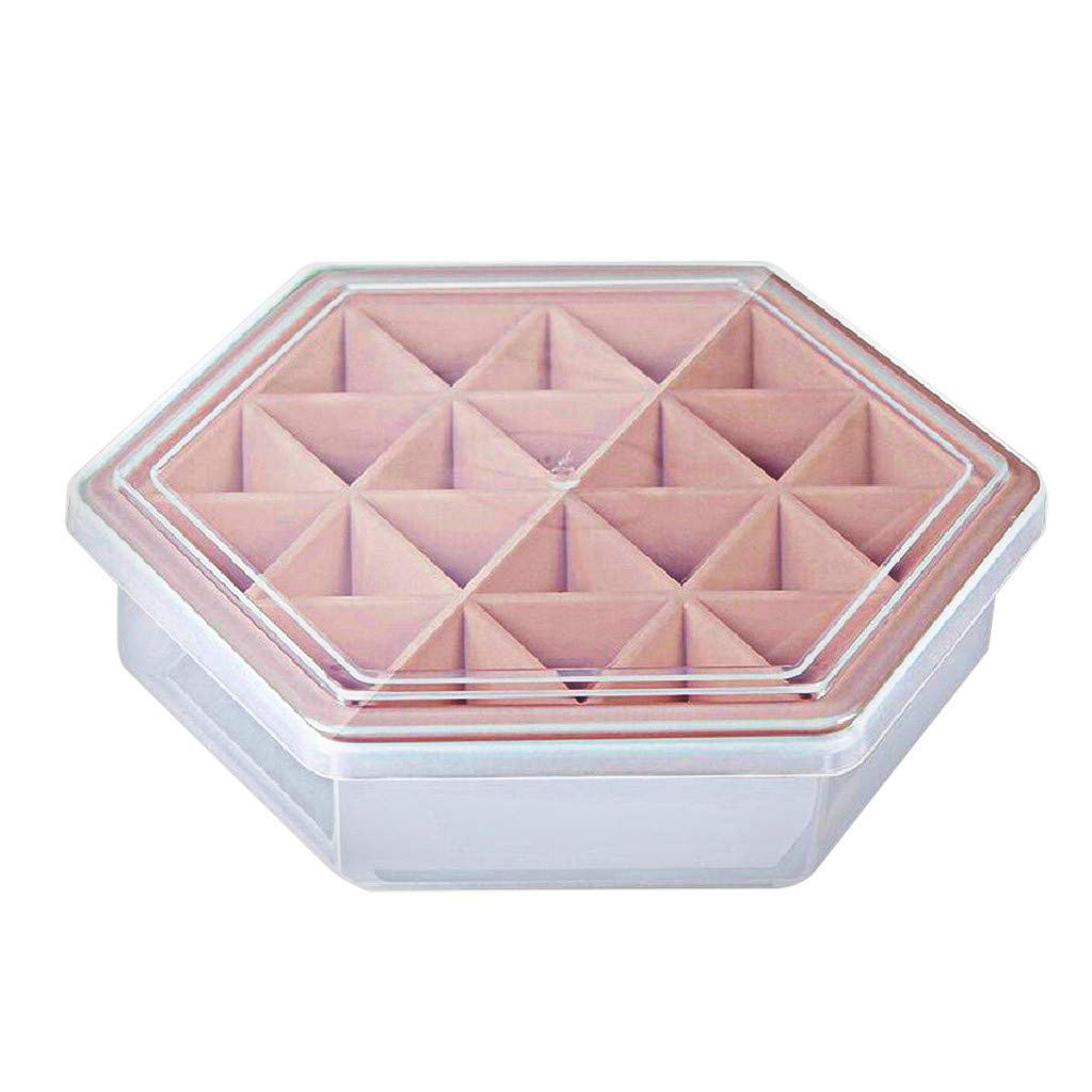 Karooch DIY Hexagon Tray Grids Cube Pan Ice Cream Tray Jelly Chocolate Mould Popsicle Mold A Variety of Different Cute Models Kitchen Tool (Pink)
