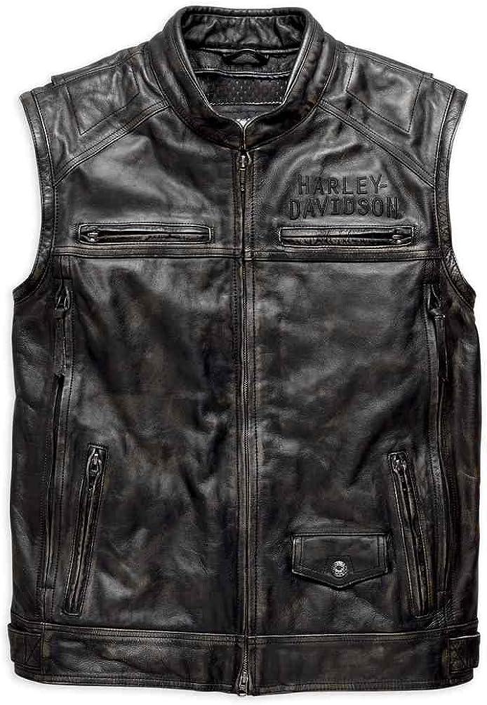 Black 97167-17VM HARLEY-DAVIDSON Mens Ironwood Convertible Leather Jacket