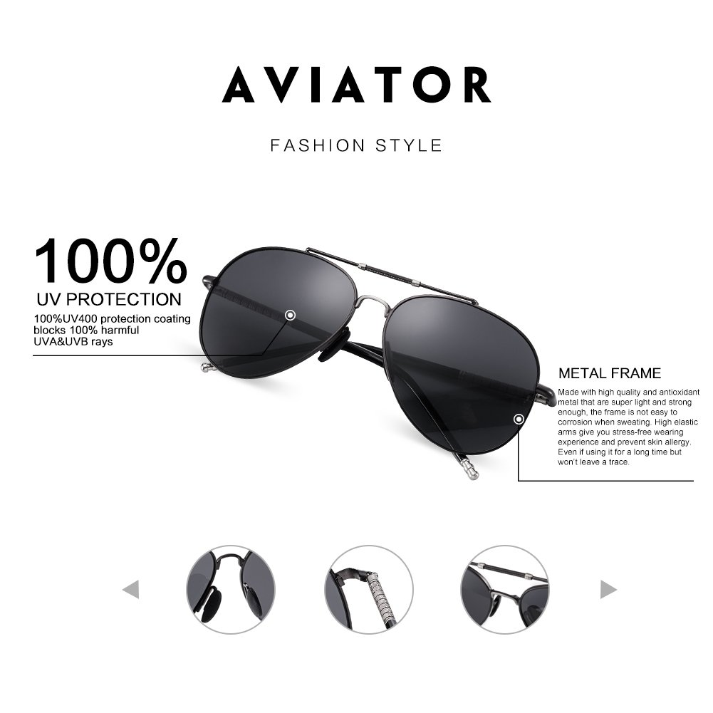 WELUK Aviator Sunglasses for Men Polarized Large Metal Frame - UV 400 Protection 63mm Black Lens