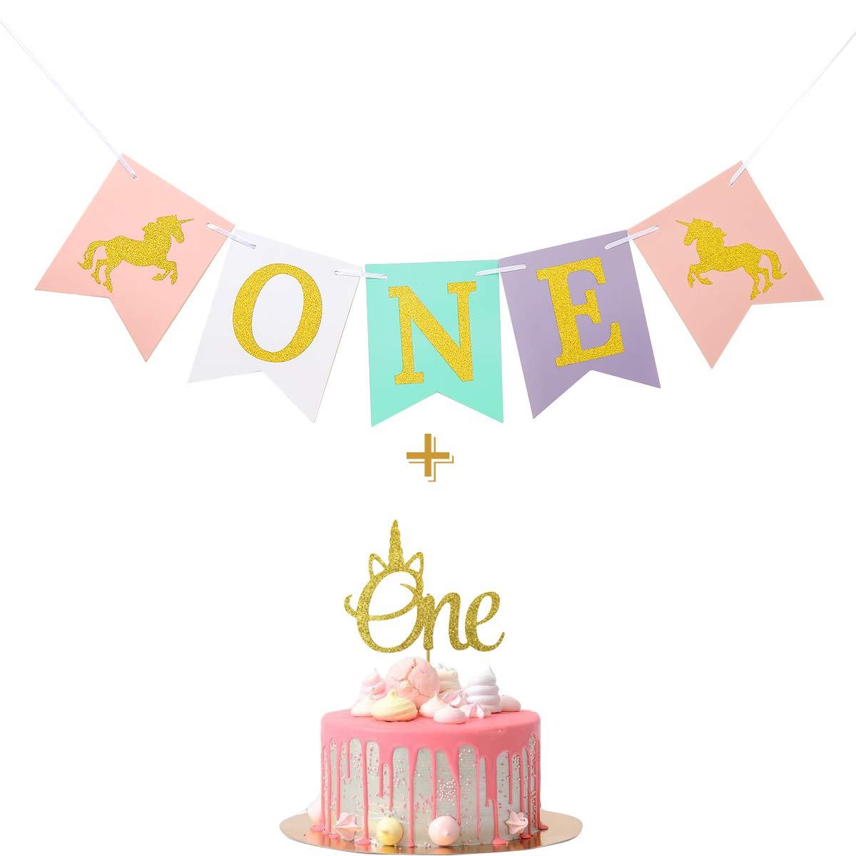 Amazon.com: Unicornio primer cumpleaños un estandarte de ...