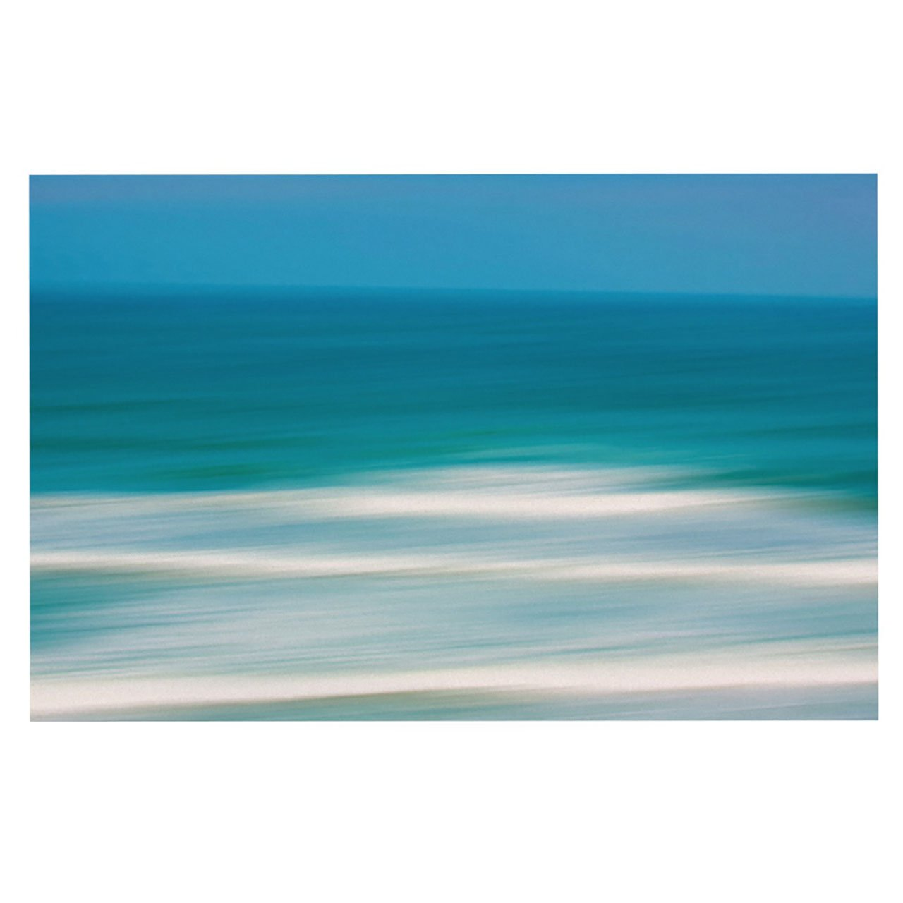 Kess InHouse  Ann Barnes ''Sun and Sea'' Blue Aqua Pet Bowl Placemat for Dog and Cat Feeding Mat, 18-Inch by 13-Inch