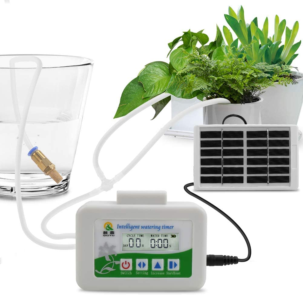 Flantor Automatic Drip Irrigation Kit,Micro Houseplants Self Watering System Auto & Manual Mode Digital Programmable Water Timer for Indoor Garden Potted Plants (White&Green Solar)