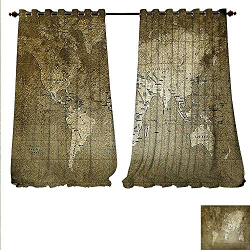 Swiss Army Atlas - familytaste Patterned Drape for Glass Door Old World Map with Great Texture Nostalgic Ancient Plan Atlas Trace of Life World Window Curtain Fabric W120 x L96 Army Green.jpg